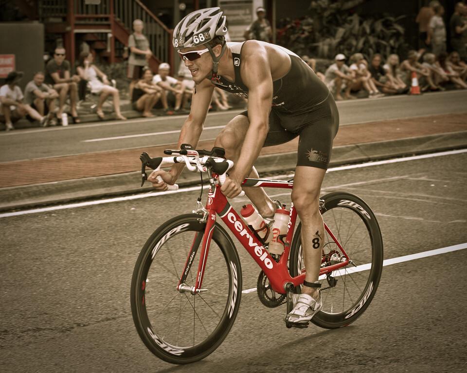 "Alternate processing: ""Matt's 300 Look - Strong"" - Colin O'Brady, 2012 Subaru Mooloolaba Men's ITU Triathlon World Cup; Mooloolaba, Sunshine Coast, Queensland, Australia; 24 March 2012. Photos by Des Thureson - disci.smugmug.com."