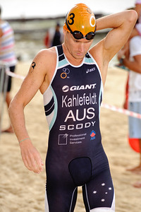 In second place & also winning the Australian Championship, Brad Kahlefeldt - 2012 Subaru Mooloolaba Men's ITU Triathlon World Cup; Mooloolaba, Sunshine Coast, Queensland, Australia; 24 March 2012. Photos by Des Thureson - disci.smugmug.com.