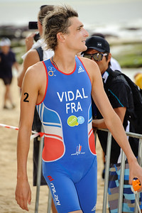 Winner Laurent Vidal - 2012 Subaru Mooloolaba Men's ITU Triathlon World Cup; Mooloolaba, Sunshine Coast, Queensland, Australia; 24 March 2012. Photos by Des Thureson - disci.smugmug.com.