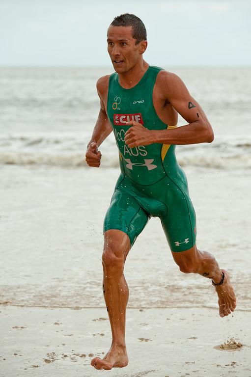 Two times Hawaii Ironman World Champion Chris McCormack ('Macca') - 2012 Subaru Mooloolaba Men's ITU Triathlon World Cup; Mooloolaba, Sunshine Coast, Queensland, Australia; 24 March 2012. Photos by Des Thureson - disci.smugmug.com.