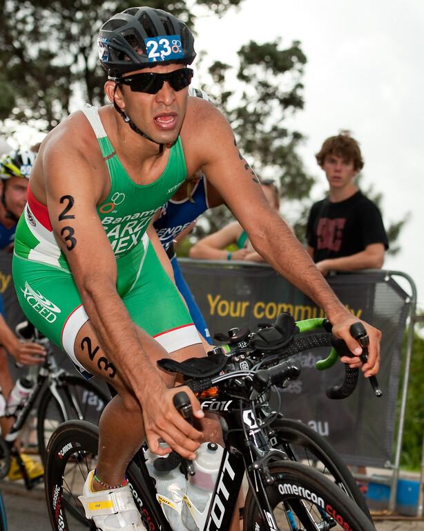 Arturo Garza, 2012 Subaru Mooloolaba Men's ITU Triathlon World Cup; Mooloolaba, Sunshine Coast, Queensland, Australia; 24 March 2012. Photos by Des Thureson - disci.smugmug.com.