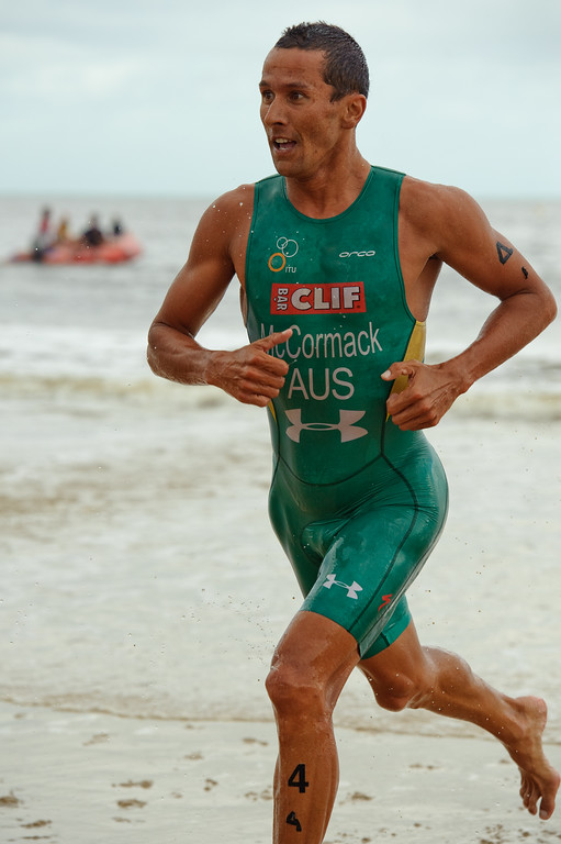 "Two times Hawaii Ironman World Champion Chris McCormack (""Macca"") - 2012 Subaru Mooloolaba Men's ITU Triathlon World Cup; Mooloolaba, Sunshine Coast, Queensland, Australia; 24 March 2012. Photos by Des Thureson - disci.smugmug.com."