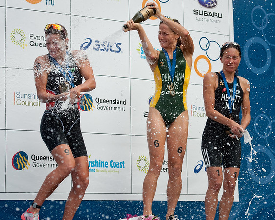 Champagne Popping - Nicola Spirig, Andrea Hewitt, Erin Densham, 2012 Subaru Mooloolaba Women's ITU Triathlon World Cup; Mooloolaba, Sunshine Coast, Queensland, Australia; 25 March 2012. Photos by Des Thureson - disci.smugmug.com.