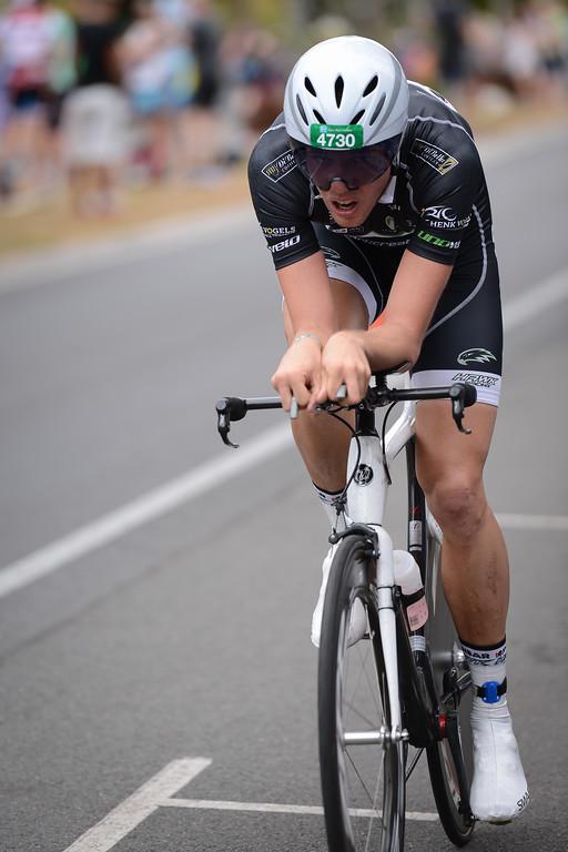 Tom Collier - Bike Leg - 2012 Noosa Triathlon, Noosa Heads, Sunshine Coast, Queensland, Australia; 4 November 2012. Photos by Des Thureson. Camera 1.