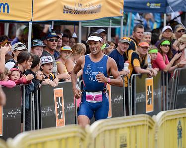 "Two times Hawaii Ironman World Champion Chris McCormack (""Macca"") - Run Leg - 2012 Noosa Triathlon, Noosa Heads, Sunshine Coast, Queensland, Australia; 4 November 2012. Photos by Des Thureson. Camera 1."