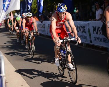 Sven Riederer - Subaru Mooloolaba Men's ITU Triathlon World Cup - Mooloolaba Multi Sport Festival Super Saturday, 15 March 2014 - Mooloolaba, Sunshine Coast, Queensland, Australia. Photos by Des Thureson - http://disci.smugmug.com - Camera 1.