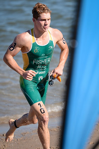 Ryan Fisher - Subaru Mooloolaba Men's ITU Triathlon World Cup - Mooloolaba Multi Sport Festival Super Saturday, 15 March 2014 - Mooloolaba, Sunshine Coast, Queensland, Australia. Photos by Des Thureson - http://disci.smugmug.com - Camera 1.