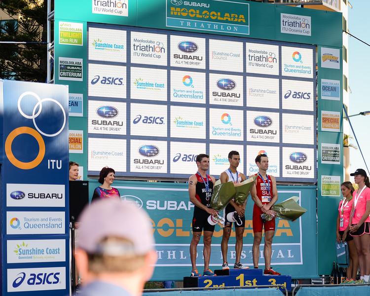 "Mario Mola, Sven Riederer, Richard Murray - Presentation Ceremony - Subaru Mooloolaba Men's ITU Triathlon World Cup - Mooloolaba Multi Sport Festival Super Saturday, 15 March 2014 - Mooloolaba, Sunshine Coast, Queensland, Australia. Photos by Des Thureson - <a href=""http://disci.smugmug.com"">http://disci.smugmug.com</a> - Camera 1."