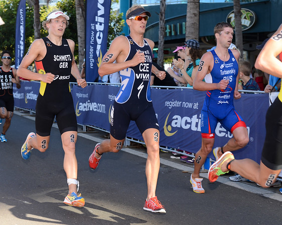Maximilian Schwetz, Jan Celustka, VladimirTurbayevskiy - Subaru Mooloolaba Men's ITU Triathlon World Cup - Mooloolaba Multi Sport Festival Super Saturday, 15 March 2014 - Mooloolaba, Sunshine Coast, Queensland, Australia. Photos by Des Thureson - http://disci.smugmug.com - Camera 1.