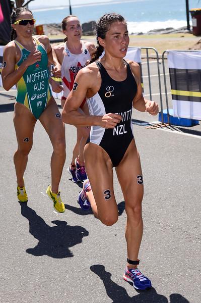 "Andrea Hewitt, Emma Moffatt - Subaru Mooloolaba Women's ITU Triathlon World Cup - Mooloolaba Multi Sport Festival Super Saturday, 15 March 2014 - Mooloolaba, Sunshine Coast, Queensland, Australia. Photos by Des Thureson - <a href=""http://disci.smugmug.com"">http://disci.smugmug.com</a> - Camera 1."