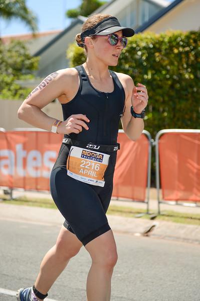 April Hinde - Run Leg - 2016 Noosa Triathlon, Noosa Heads, Sunshine Coast, Queensland, Australia; 30 October. Camera 2. Photos by Des Thureson - disci.smugmug.com