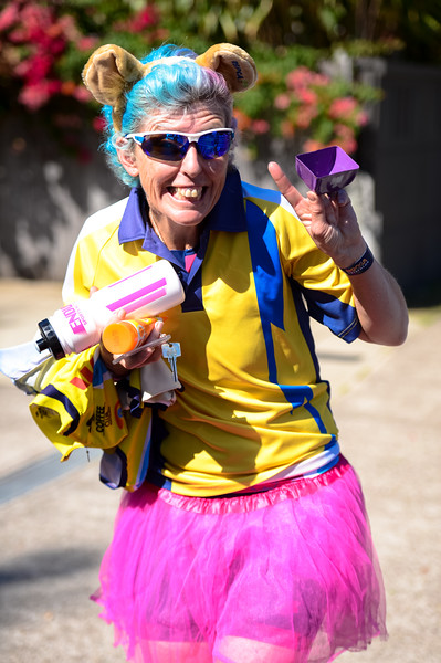 """Direct Positive"" - Redcliffe Tri Club Supporter - 2016 Noosa Triathlon, Noosa Heads, Sunshine Coast, Queensland, Australia; 30 October. Camera 2. Photos by Des Thureson - disci.smugmug.com"
