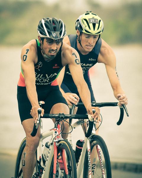 """Alternate Processing: """"That 70's Look"""" - Joao Silva - 2017 Gold Coast ITU Men's WTS World Triathlon, Saturday 8 April 2017; Queensland, Australia. Camera 2. Photos by Des Thureson - <a href=""""http://disci.smugmug.com"""">http://disci.smugmug.com</a>."""