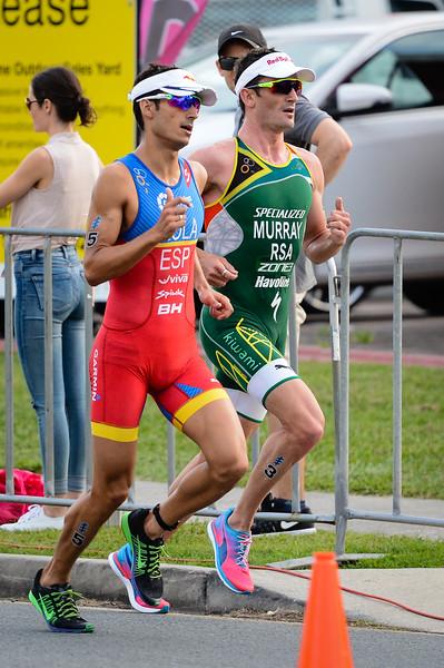 "Mario Mola, Richard Murray - 2017 Gold Coast ITU Men's WTS World Triathlon, Saturday 8 April 2017; Queensland, Australia. Camera 1. Photos by Des Thureson - <a href=""http://disci.smugmug.com"">http://disci.smugmug.com</a>."