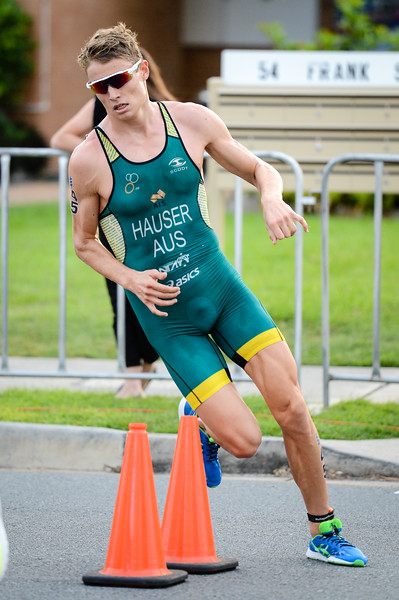 "Matthew Hauser - 2017 Gold Coast ITU Men's WTS World Triathlon, Saturday 8 April 2017; Queensland, Australia. Camera 1. Photos by Des Thureson - <a href=""http://disci.smugmug.com"">http://disci.smugmug.com</a>."
