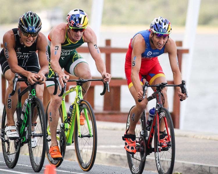 "Jumpei Furuya, Richard Murray, Mario Mola - 2017 Gold Coast ITU Men's WTS World Triathlon, Saturday 8 April 2017; Queensland, Australia. Camera 2. Photos by Des Thureson - <a href=""http://disci.smugmug.com"">http://disci.smugmug.com</a>."