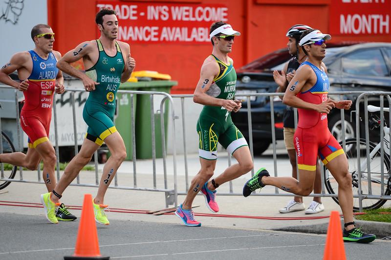 "Fernando Alarza, Jacob Birtwhistle, Richard Murray, Mario Mola - 2017 Gold Coast ITU Men's WTS World Triathlon, Saturday 8 April 2017; Queensland, Australia. Camera 1. Photos by Des Thureson - <a href=""http://disci.smugmug.com"">http://disci.smugmug.com</a>."