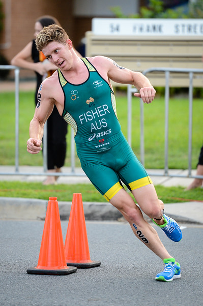"Ryan Fisher - 2017 Gold Coast ITU Men's WTS World Triathlon, Saturday 8 April 2017; Queensland, Australia. Camera 1. Photos by Des Thureson - <a href=""http://disci.smugmug.com"">http://disci.smugmug.com</a>."