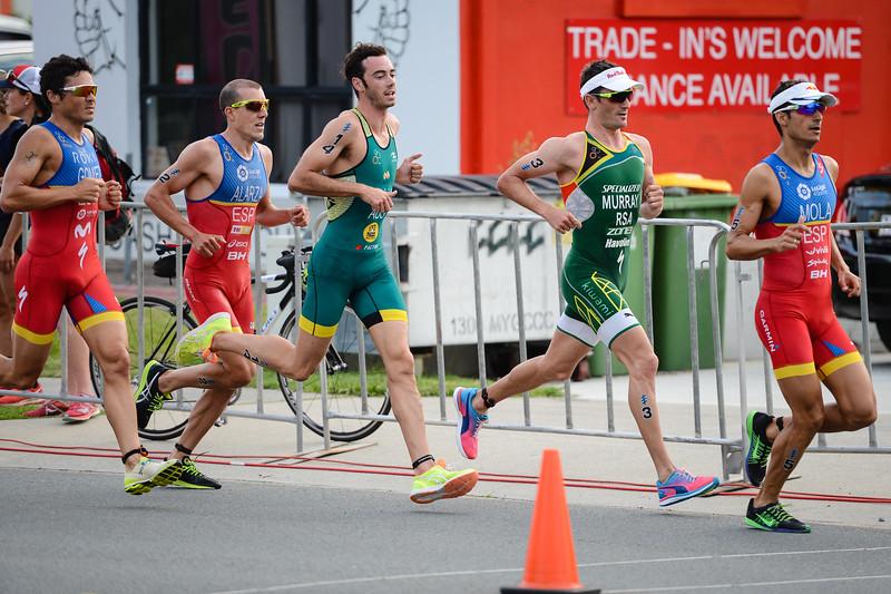 "Mario Mola, Jacob Birtwhistle, Javier Gomez, Richard Murray, Fernando AlarzaAlarza - 2017 Gold Coast ITU Men's WTS World Triathlon, Saturday 8 April 2017; Queensland, Australia. Camera 1. Photos by Des Thureson - <a href=""http://disci.smugmug.com"">http://disci.smugmug.com</a>."