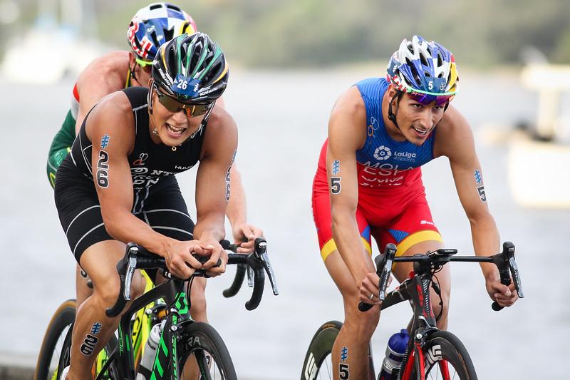 "Jumpei Furuya, Mario Mola - 2017 Gold Coast ITU Men's WTS World Triathlon, Saturday 8 April 2017; Queensland, Australia. Camera 2. Photos by Des Thureson - <a href=""http://disci.smugmug.com"">http://disci.smugmug.com</a>."