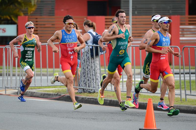 """Mario Mola, Jacob Birtwhistle, Javier Gomez Noya - 2017 Gold Coast ITU Men's WTS World Triathlon, Saturday 8 April 2017; Queensland, Australia. Camera 1. Photos by Des Thureson - <a href=""""http://disci.smugmug.com"""">http://disci.smugmug.com</a>."""
