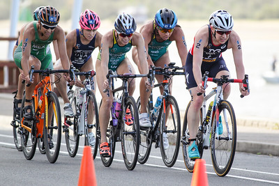 Jodie Stimpson, Charlotte McShane - 2017 Gold Coast ITU Women's WTS World Triathlon, Saturday 8 April 2017; Queensland, Australia. Camera 2. Photos by Des Thureson - http://disci.smugmug.com.