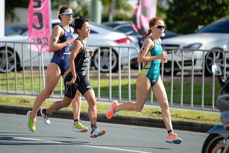 """Charlotte McShane, Ai Ueda, Katie Zaferes - 2017 Gold Coast ITU Women's WTS World Triathlon, Saturday 8 April 2017; Queensland, Australia. Camera 1. Photos by Des Thureson - <a href=""""http://disci.smugmug.com"""">http://disci.smugmug.com</a>."""