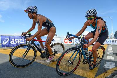 Yuka Sato, Claire Michel - 2017 Gold Coast ITU Women's WTS World Triathlon, Saturday 8 April 2017; Queensland, Australia. Camera 1. Photos by Des Thureson - http://disci.smugmug.com.