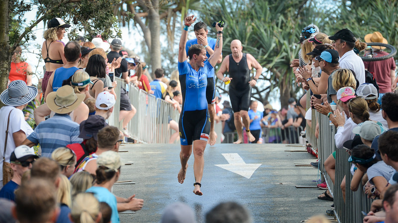 Triumphant progress from swim exit to transition