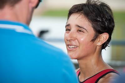 Winner Barbara Riveros Diaz speaks to the media - 2011 Caloundra Women's Enduro Triathlon for professional triathletes; Woorim Park, Golden Beach, Caloundra, Sunshine Coast, Queensland, Australia; 6 February 2011. Photos by Des Thureson.