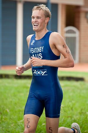 Race Winner Jesse Featonby - 2011 Caloundra Enduro Triathlon for professional triathletes (men's event); Woorim Park, Golden Beach, Caloundra, Sunshine Coast, Queensland, Australia; 6 February 2011. Photos by Des Thureson.