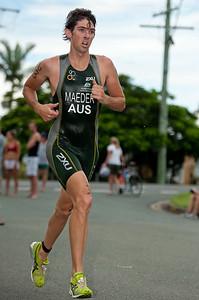 Josh Maeder - 2011 Caloundra Enduro Triathlon for professional triathletes (men's event); Woorim Park, Golden Beach, Caloundra, Sunshine Coast, Queensland, Australia; 6 February 2011. Photos by Des Thureson.