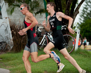 Bryce McMaster (3rd) & Ben Shaw (5th) - 2011 Caloundra Enduro Triathlon for professional triathletes (men's event); Woorim Park, Golden Beach, Caloundra, Sunshine Coast, Queensland, Australia; 6 February 2011. Photos by Des Thureson.