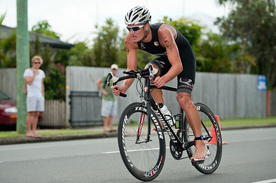 Second-place-getter Clayton Fettell - 2011 Caloundra Enduro Triathlon for professional triathletes (men's event); Woorim Park, Golden Beach, Caloundra, Sunshine Coast, Queensland, Australia; 6 February 2011. Photos by Des Thureson.