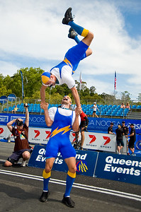 """Gee Up"" Crowd Entertainers / Spruikers at the start of the 2010 Noosa Multi Sport Festival; Noosa Heads, Sunshine Coast, Queensland, Australia; Saturday 30 October 2010. Photos by Des Thureson:  http://disci.smugmug.com."