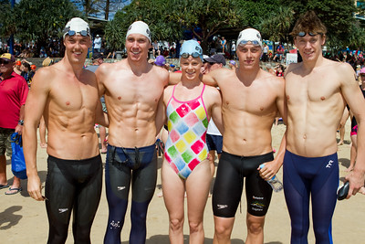 Group Portraits - Mooloolaba Ocean Swim, 26 March 2011, Sunshine Coast, Queensland, Australia. Photos by Des Thureson. (Pic includes race winners Danielle DeFrancesco and Trent Grimsey.)
