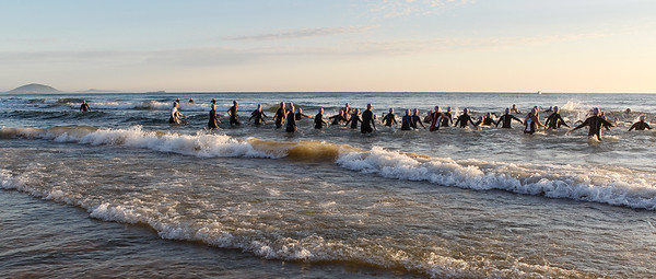 Slow Shutter Speed - Race Start - Swim Leg - Ironman 70.3 Sunshine Coast 2013; Mooloolaba, Queensland, Australia. Camera 2. Photos by Des Thureson - http://disci.smugmug.com.