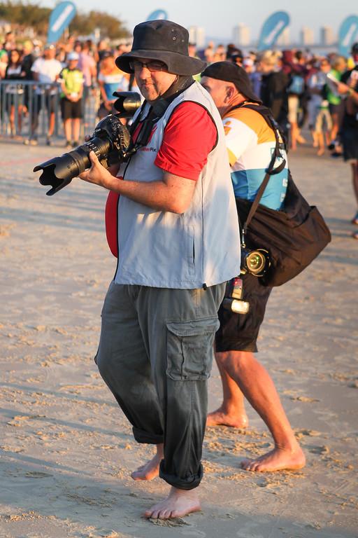 "Darren White - Race Start - Swim Leg - Ironman 70.3 Sunshine Coast 2013; Mooloolaba, Queensland, Australia. Camera 2. Photos by Des Thureson - <a href=""http://disci.smugmug.com"">http://disci.smugmug.com</a>."