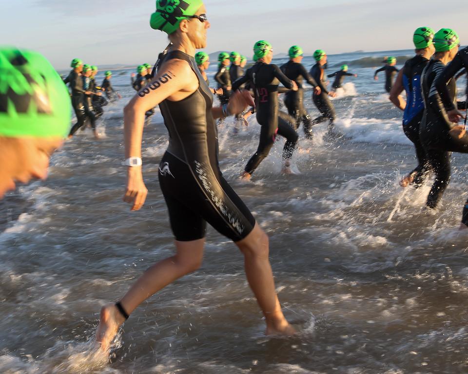 "Slow Shutter Speed - Race Start - Swim Leg - Ironman 70.3 Sunshine Coast 2013; Mooloolaba, Queensland, Australia. Camera 2. Photos by Des Thureson - <a href=""http://disci.smugmug.com"">http://disci.smugmug.com</a>."
