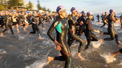 Slow Shutter Speed - Race Start - Swim Leg - Ironman 70.3 Sunshine Coast 2013; Mooloolaba, Queensland, Australia. Camera 2. Photos by Des Thureson - http://disci.smugmug.com.
