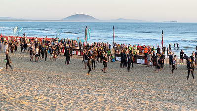 Race Start - Swim Leg - Ironman 70.3 Sunshine Coast 2013; Mooloolaba, Queensland, Australia. Camera 2. Photos by Des Thureson - http://disci.smugmug.com.