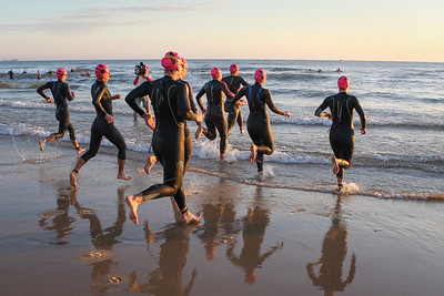 Race Start - Swim Leg - Ironman 70.3 Sunshine Coast 2013; Mooloolaba, Queensland, Australia. Camera 2. Photos by Des Thureson - http://disci.smugmug.com.