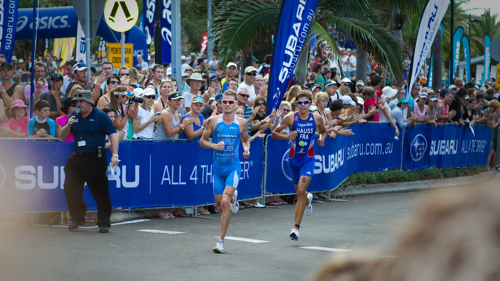 "Brad Kahlefeldt, David Hauss - 2011 Mooloolaba ITU World Cup Triathlon - Men. Mooloolaba Triathlon Festival, Saturday 26 March 2011, Sunshine Coast, Queensland, Australia. Photos by Des Thureson:  <a href=""http://disci.smugmug.com"">http://disci.smugmug.com</a>"