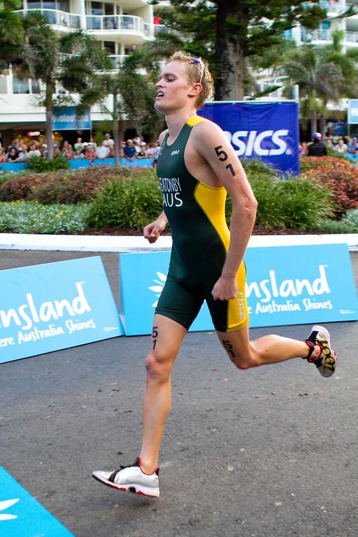 "Jesse Featonby - 2011 Mooloolaba ITU World Cup Triathlon - Men. Mooloolaba Triathlon Festival, Saturday 26 March 2011, Sunshine Coast, Queensland, Australia. Photos by Des Thureson:  <a href=""http://disci.smugmug.com"">http://disci.smugmug.com</a>"