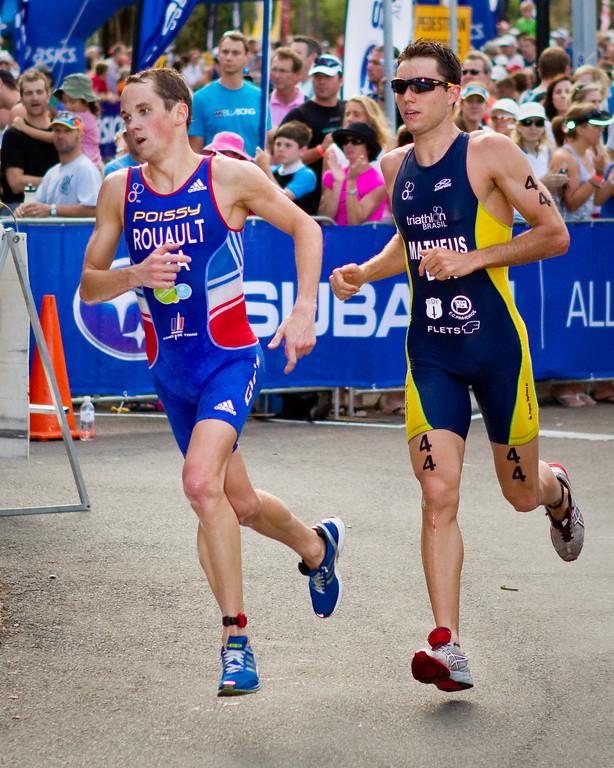 "Grégory Rouault, Bruno Matheus - 2011 Mooloolaba ITU World Cup Triathlon - Men. Mooloolaba Triathlon Festival, Saturday 26 March 2011, Sunshine Coast, Queensland, Australia. Photos by Des Thureson:  <a href=""http://disci.smugmug.com"">http://disci.smugmug.com</a>"