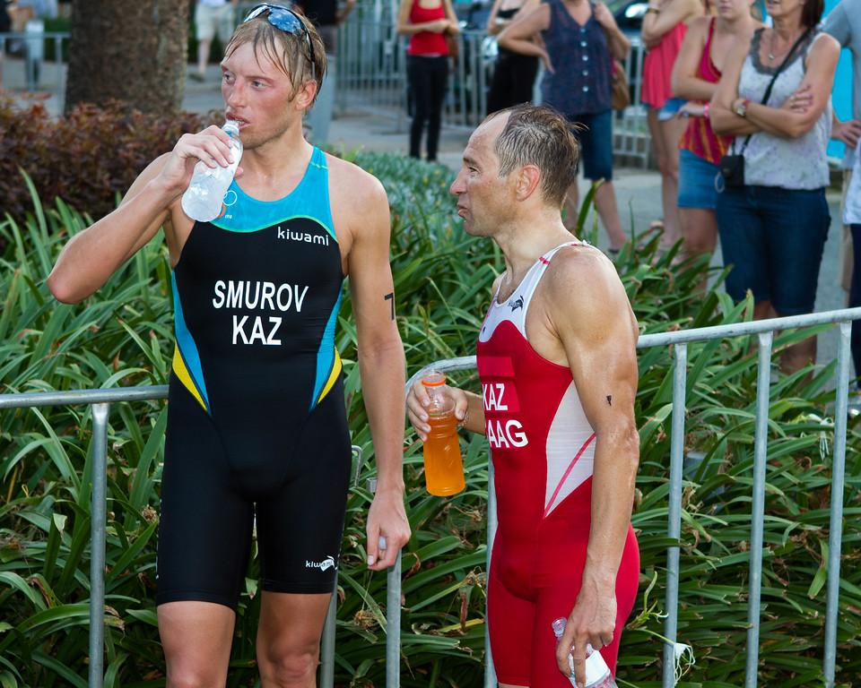 """Dmitriy Smurov, Dmitriy Gaag - 2011 Mooloolaba ITU World Cup Triathlon - Men. Mooloolaba Triathlon Festival, Saturday 26 March 2011, Sunshine Coast, Queensland, Australia. Photos by Des Thureson:  <a href=""""http://disci.smugmug.com"""">http://disci.smugmug.com</a>."""