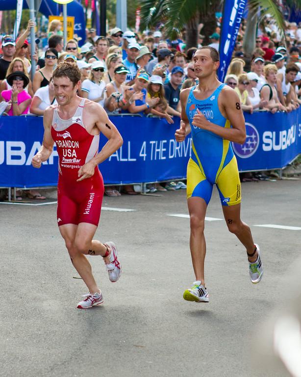 """Andriy Glushchenko, Barrett Brandon - 2011 Mooloolaba ITU World Cup Triathlon - Men. Mooloolaba Triathlon Festival, Saturday 26 March 2011, Sunshine Coast, Queensland, Australia. Photos by Des Thureson:  <a href=""""http://disci.smugmug.com"""">http://disci.smugmug.com</a>"""