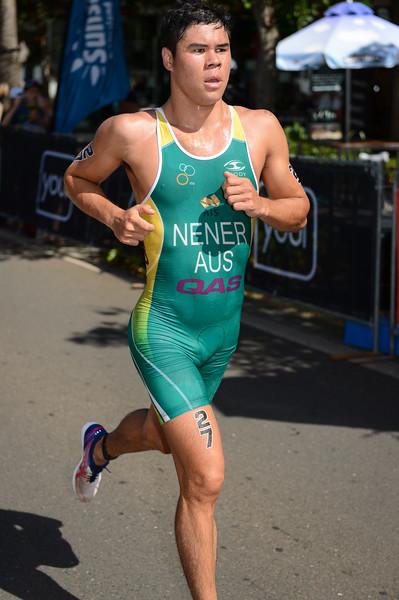 "Kenji Nener - 2015 Mooloolaba ITU Triathlon World Cup Men - 2015 Mooloolaba Triathlon Multi Sport Festival, Sunshine Coast, Qld, AUS; Saturday 14 March 2015. Photos by Des Thureson - <a href=""http://disci.smugmug.com"">http://disci.smugmug.com</a>. Camera 1."