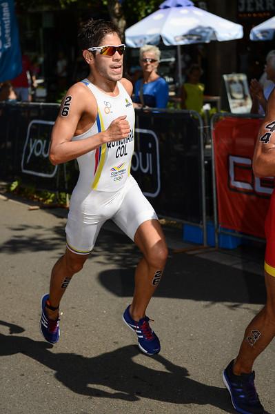 "Carlos Javier Quinchara Forero - 2015 Mooloolaba ITU Triathlon World Cup Men - 2015 Mooloolaba Triathlon Multi Sport Festival, Sunshine Coast, Qld, AUS; Saturday 14 March 2015. Photos by Des Thureson - <a href=""http://disci.smugmug.com"">http://disci.smugmug.com</a>. Camera 1."
