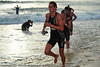 Completing the 1500 metre Olympic triathlon distance swim - Mooloolaba Triathlon, 28 March 2010